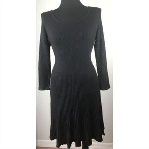 Rebecca Taylor Sweater Dress Black Fit and Flare L